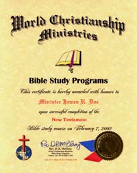 bible study certificate
