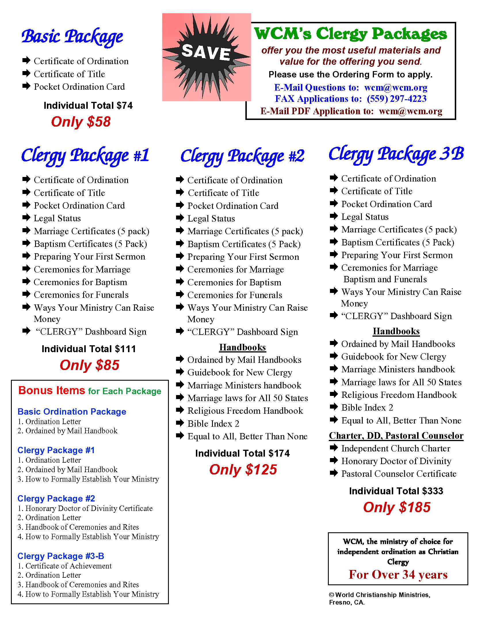 clergy packages
